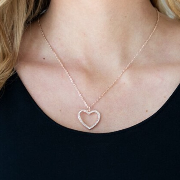 Paparazzi Glow by Heart Rose Gold Necklace NIP